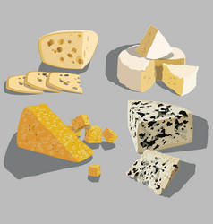 set cheeses collection cartoon cheeses vector image