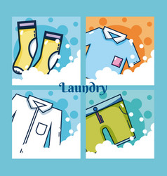 Set of laundry clothes vector