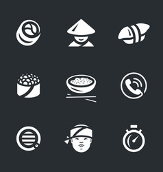 set sushi service icons vector image