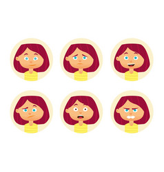 set woman emotions facial expression girl vector image