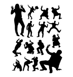Shocked fright people silhouettes vector