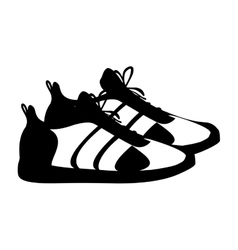 Silhouette pair black fitness sneakers design icon vector