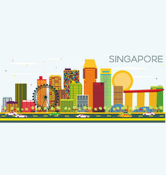 Singapore skyline with color buildings and blue vector