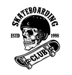 Skateboarding club emblem with skull in vector