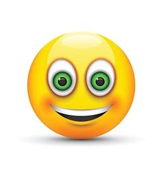 smiling emoji big realistic green eyes vector image