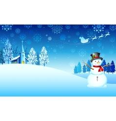 Snowman on Christmas night vector image