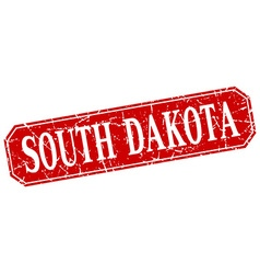 South Dakota red square grunge retro style sign vector image