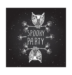 Spooky party on chalkboard background vector image vector image