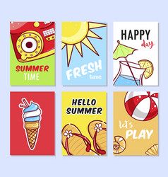 summer card set vector image