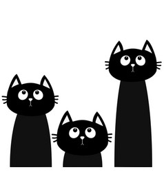 Three black cat set looking up friends forever vector