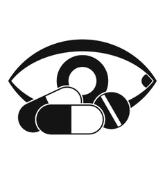 Treatment of the eye icon simple style vector