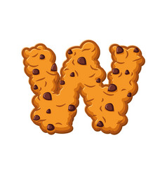 W letter cookies cookie font oatmeal biscuit vector