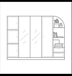 Wardrobe in simple outline style vector