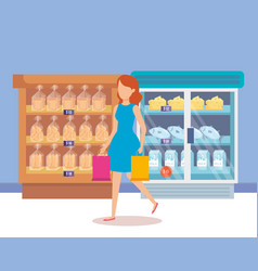 woman in supermarket refrigerator with shelf vector image