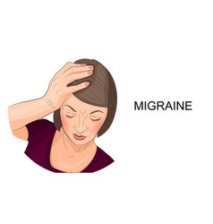 Woman suffering from migraine vector