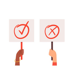 yes no banners hands holding choice checkmark vector image