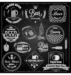 beer set elements chalkboard vector image