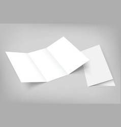 blank tri fold mockup on gray vector image