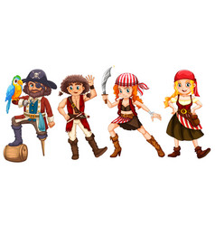 pirate crews on white background vector image