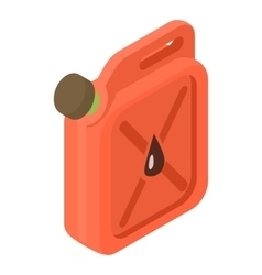 Red jerrycan with oil drop icon isometric 3d style vector image