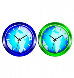 world map clock vector image