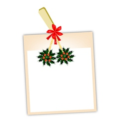 Blank Photos with Christmas Holly vector image