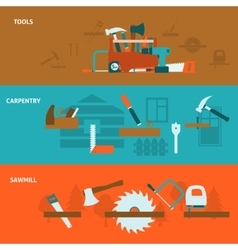 Carpentry tools flat banners set vector image