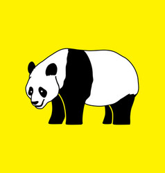 cartoon fat panda standing side view vector image