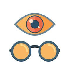 fashion glasses and eye symbol vector image vector image