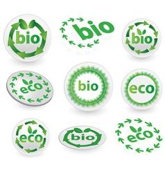 green eco and bio icons vector image