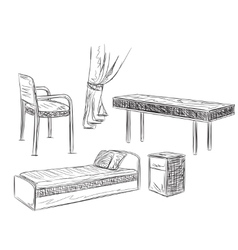 Hand drawn furniture for schoolboy or student vector image
