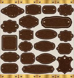 Leather vintage LABELS set vector image vector image