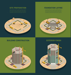 skyscraper construction isometric vector image vector image