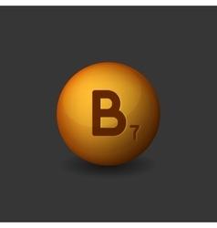 Vitamin B7 Orange Glossy Sphere Icon on Dark vector image vector image