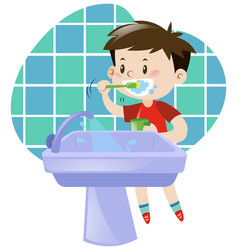 little boy brushing his teeth vector image vector image