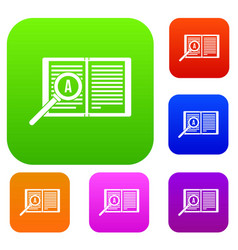 magnifying glass over open book set collection vector image