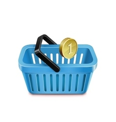 Shopping basket and coin vector image vector image