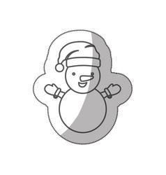 Sticker sketch silhouette cartoon snowman vector