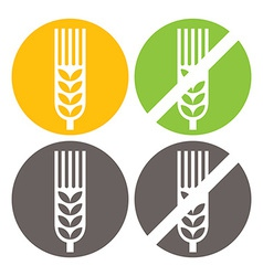 Wheat and gluten free signs vector