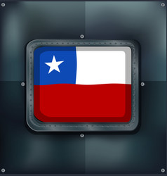 chile flag on metal frame vector image vector image
