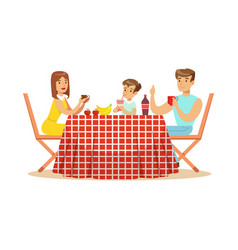 happy family having lunch outdoors mother father vector image