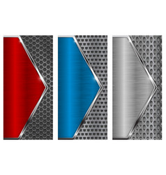 metal brushed background with perforation red vector image vector image