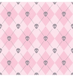 Seamless pink pattern with funny skulls vector image vector image