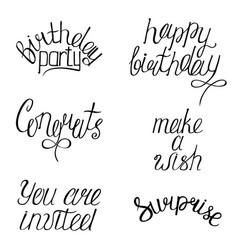 set of happy birthdays calligraphy phrases vector image