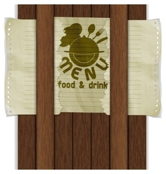 template frame food and drink wooden boards vector image