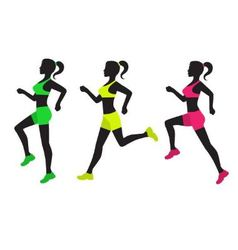 Three silhouettes of running women vector