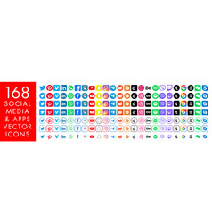 168 color media icons facebook instagram twitter vector