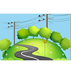 A long road at the top of the hill vector image