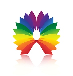 abstract shape loop colorful icon with reflection vector image