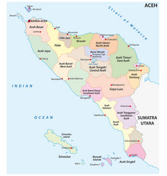 Administrative map indonesian province aceh vector